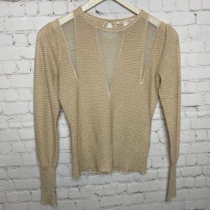 Alice + Olivia Gold Striped Mesh Sweater Small